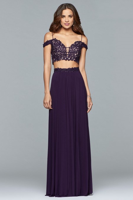 Arriving December - Mesh two-piece with lace applique bodice and lace-up back