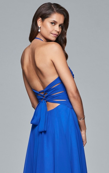 Chiffon halter prom dress with ruched bodice and lace-up back