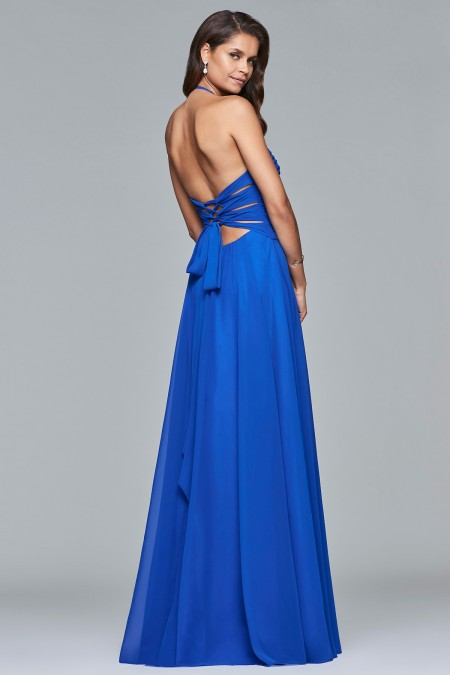 JUST ARRIVED - Chiffon halter dress with ruched bodice and lace-up back