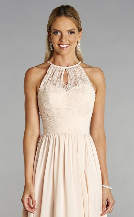 Chiffon & lace halter neck prom dress