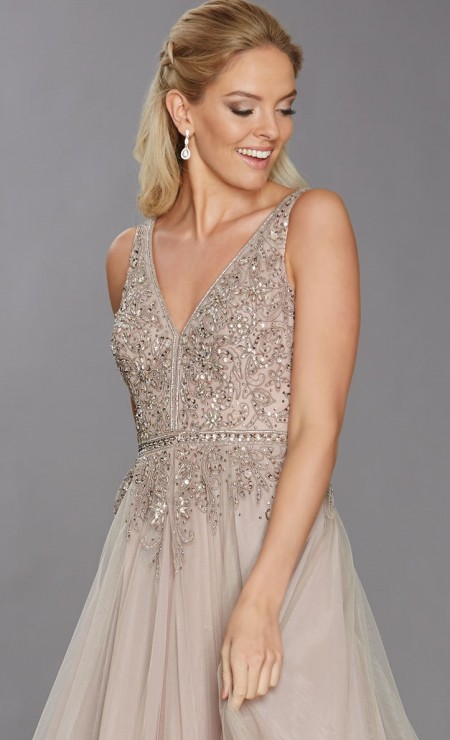 V-neck, a-line, prom dress with beaded bodice - SOLD OUT