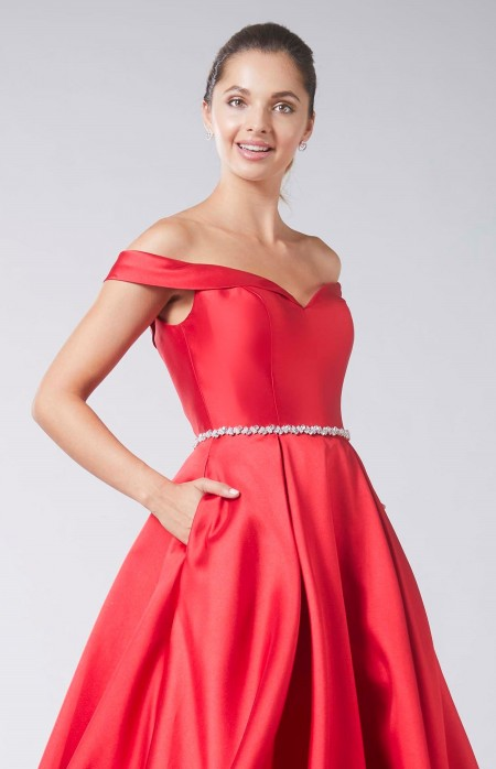 A line, off the shoulder mikado fabric prom dress with pockets