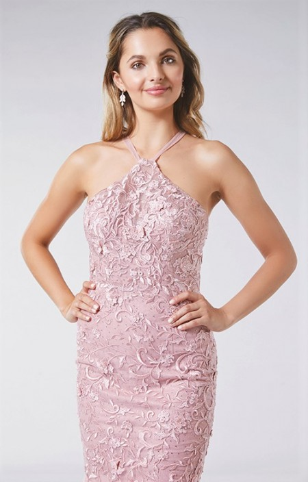 1/2 PRICE - Lace, high neck, fishtail prom dress