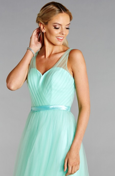 Soft tulle and satin prom dress with chevron pleated bodice