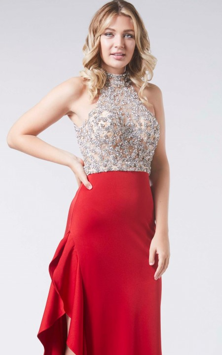 1/2 PRICE - Backless column dress with side split & jewelled bodice