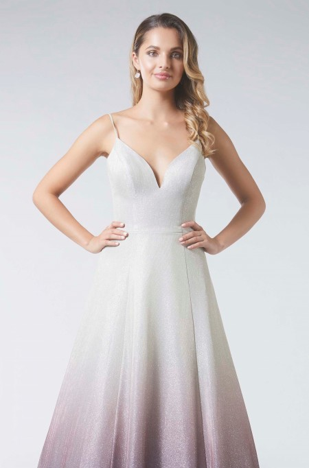 Graduated tone, sparkle fabric prom dress with sweetheart neckline