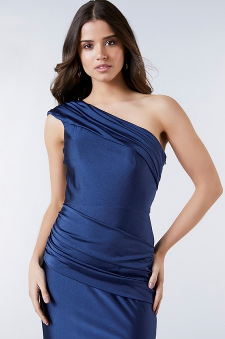 1/2 PRICE - Satin one shoulder evening dress with ruched waist sash
