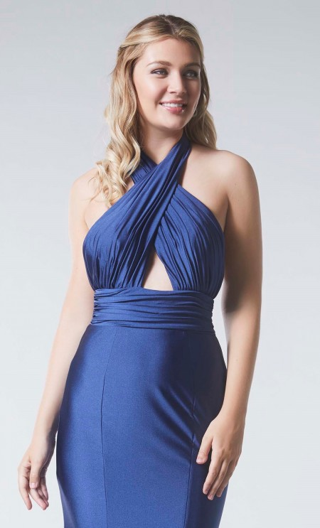 Crossover halter, backless evening/prom dress in stretch satin