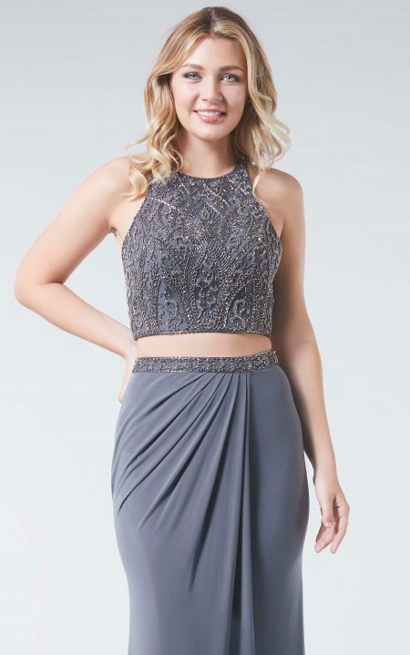 Two piece prom dress with beaded top and stretch jersey skirt