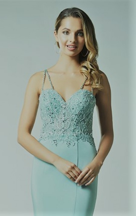 Backless, column prom dress with jewelled applique bodice