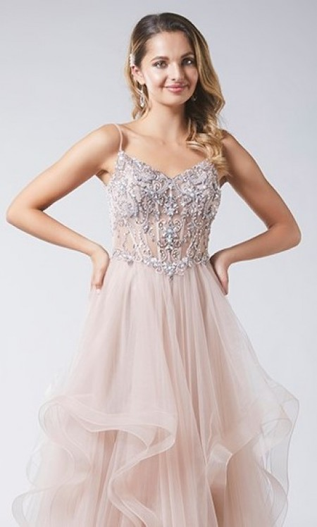 SOLD OUT- Scalloped and layered prom dress and beaded bodice