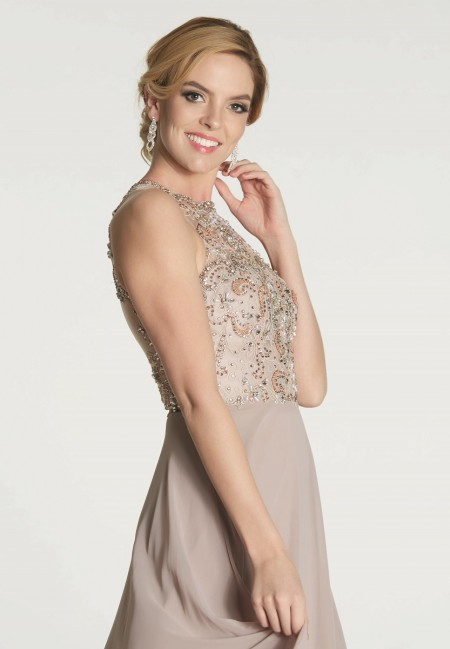 High neck chiffon prom dress with keyhole back