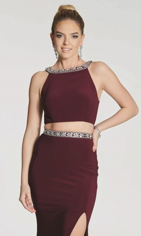 Jersey two piece with diamante waist trim