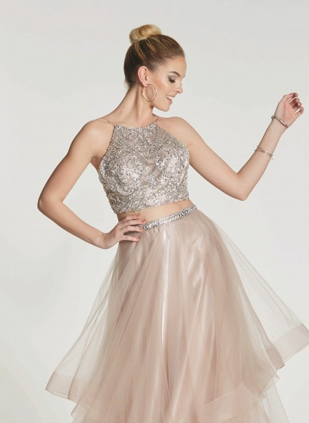 Two piece prom dress with layered tulle skirt
