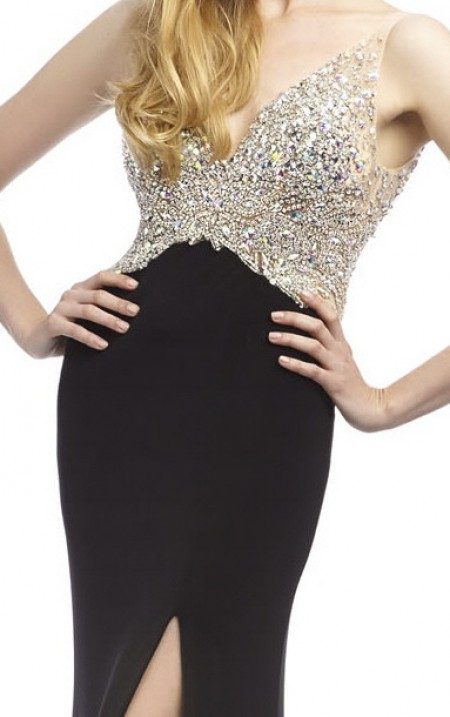 A real red carpet dress - jewelled top & plain jersey, thigh split & low V back
