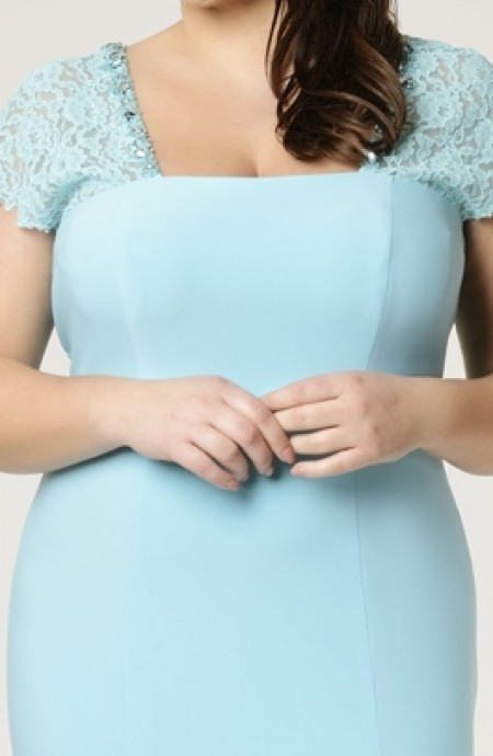 Plus size, jersey & lace, cap sleeve evening gown