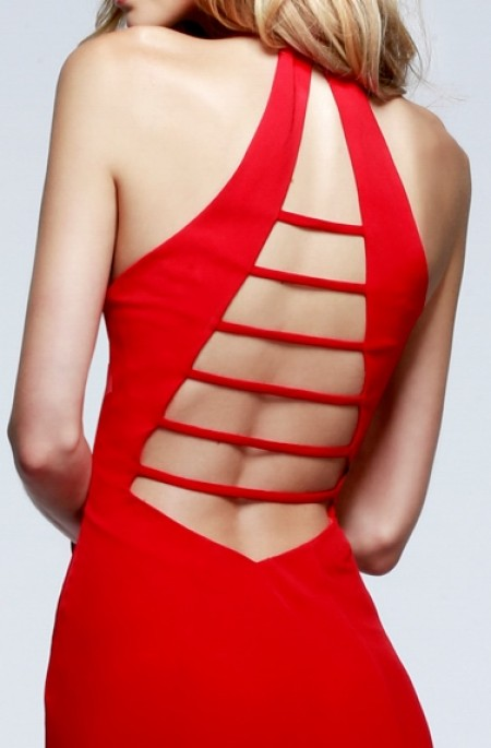 Deep plunge backless jersey evening gown