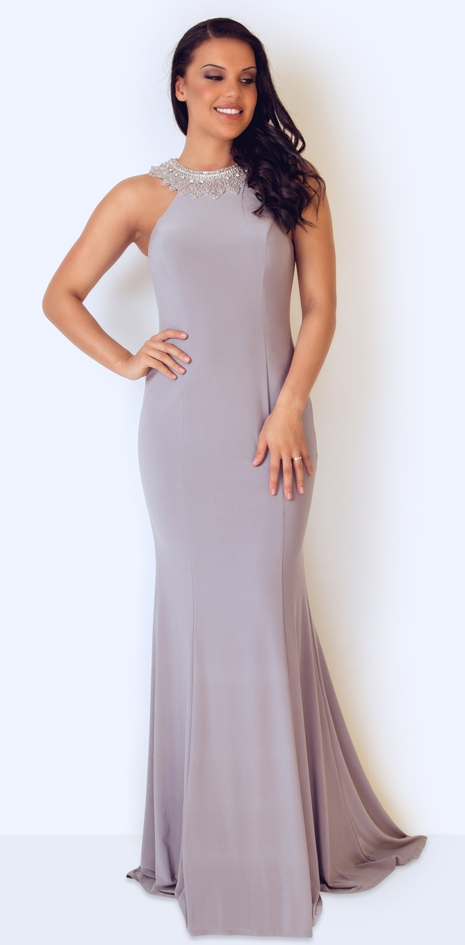 silver grey jersey evening dress with bead neck detail at