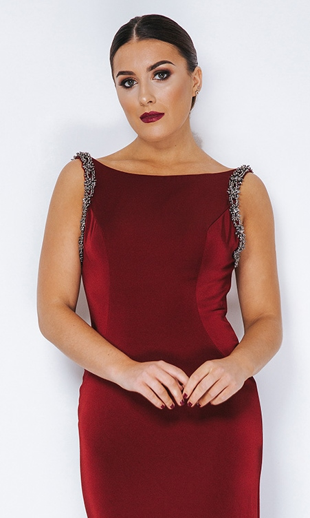 ff00acad151 REDUCED - Satin boat neck evening dress with deep V back at Ball ...