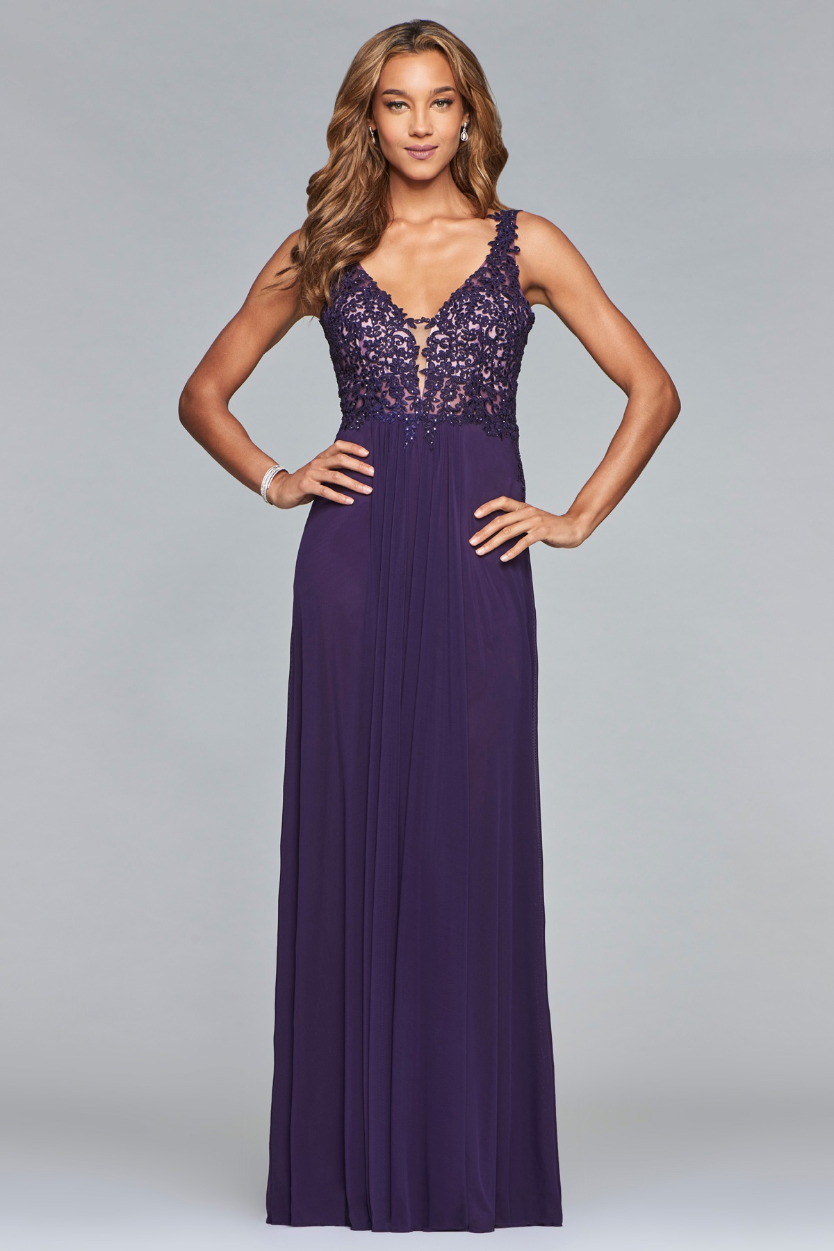Mesh v-neck dress with lace applique at Ball Gown Heaven