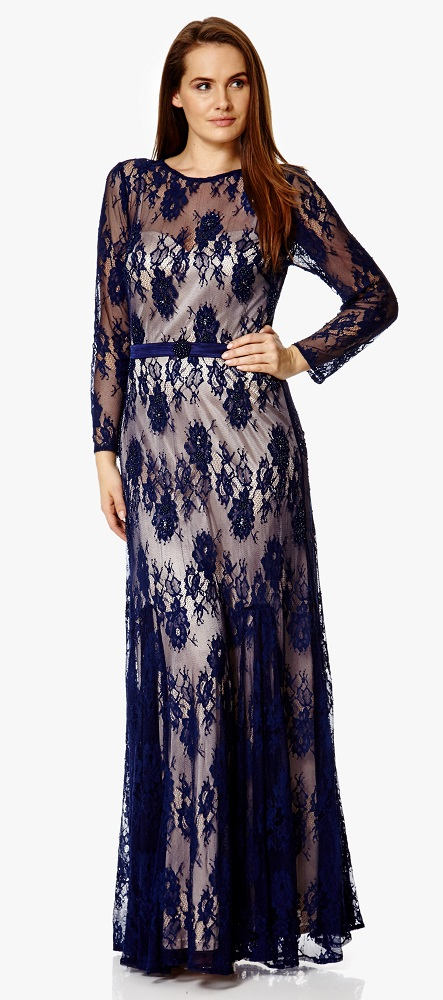 navy lace over nude long sleeved evening dress at ball