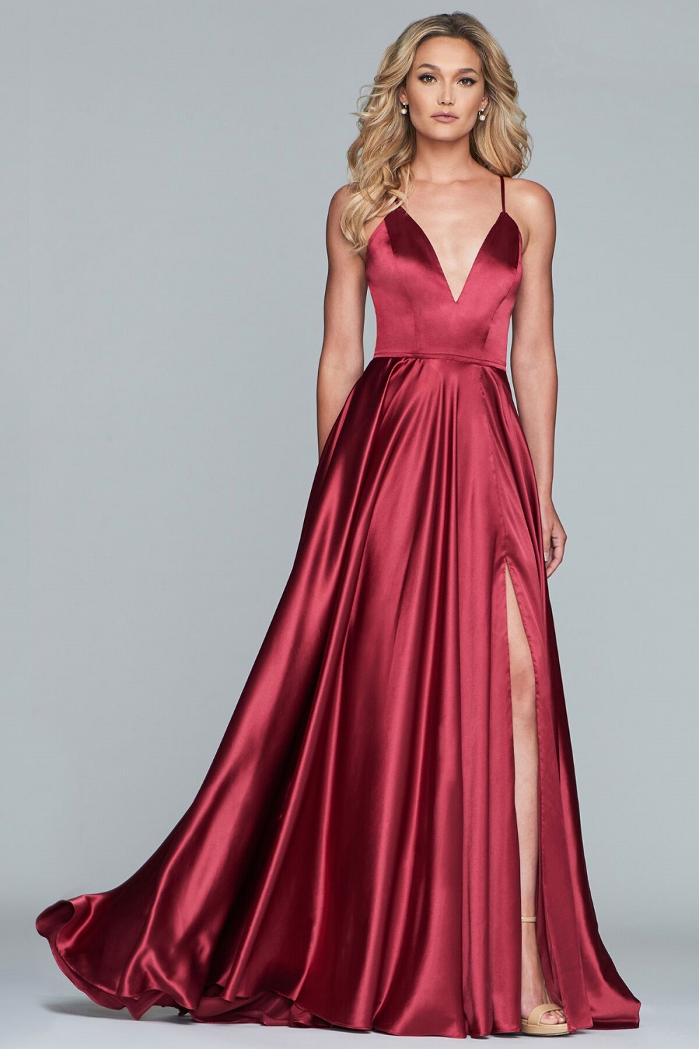 V Neck Satin A Line Prom Dress With Thigh Split At Ball