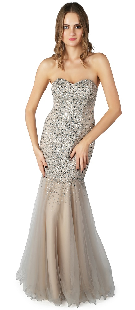 REDUCED - Strapless, jewelled, fishtail ball gown at Ball Gown Heaven