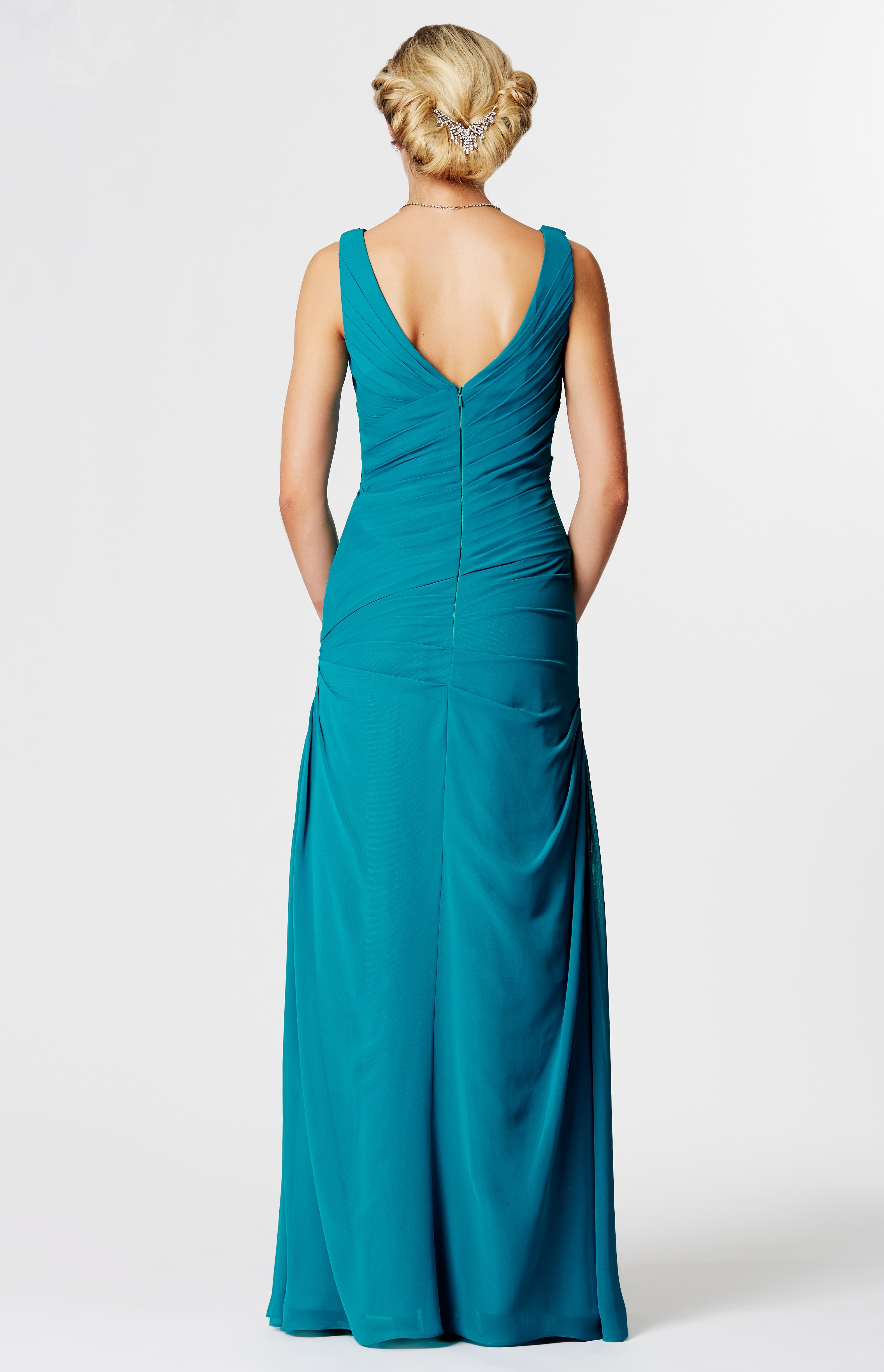 Plain, pleated chiffon, form flattering, evening gown at Ball Gown ...