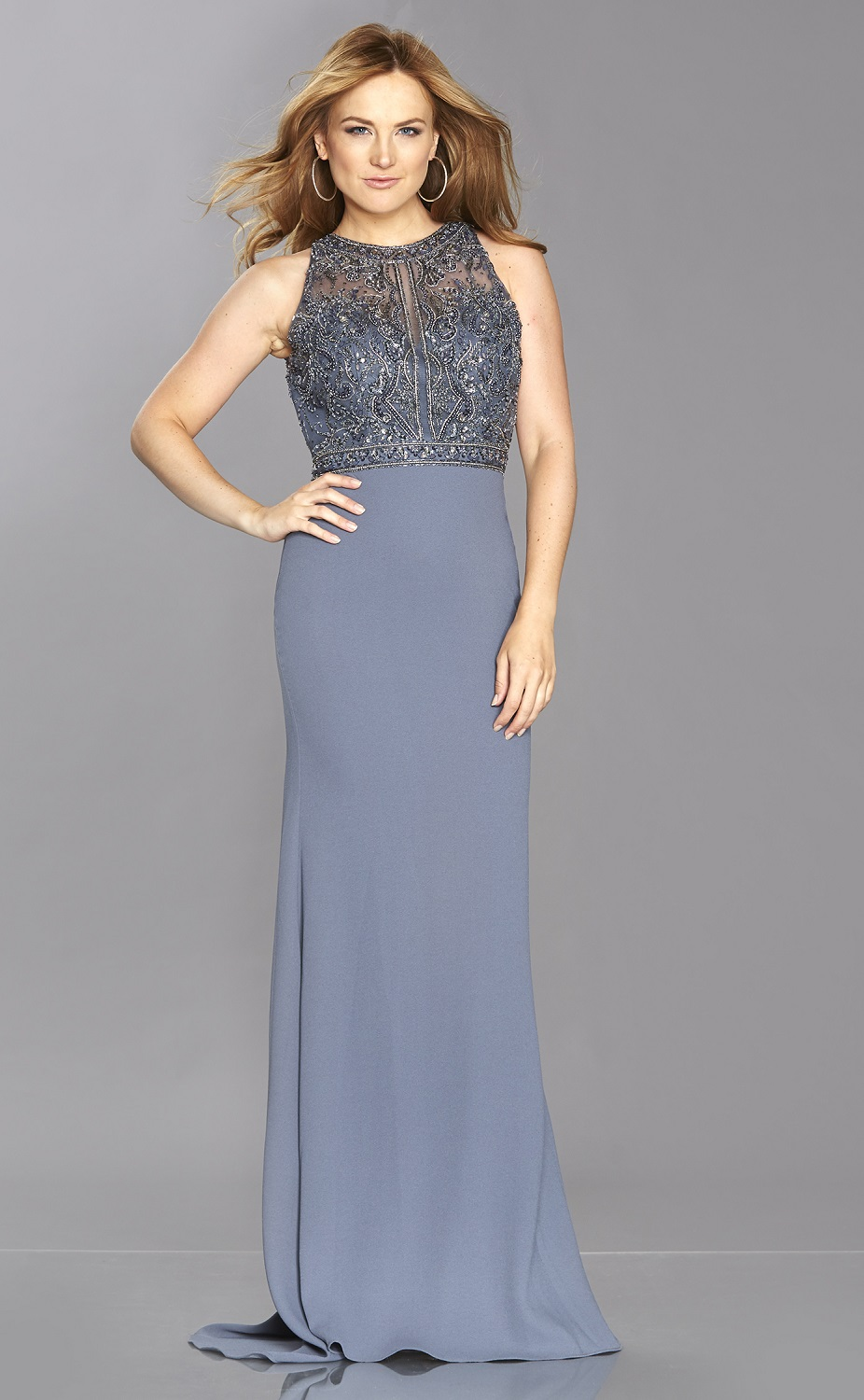 ab0868339e38 Sequinned, high neck, backless, crepe prom dress REDUCED at Ball ...