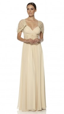 Full length evening dress with a plunged v neckline. Evening Dress