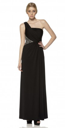 Asymmetric shoulder evening dress in jersey. Evening Dress