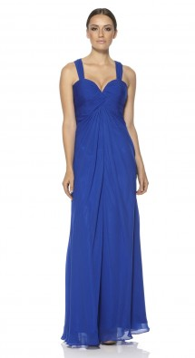 Chiffon evening dress with a plunging sweetheart neckline. Evening Dress