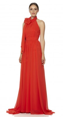 Full length chiffon fabric gown. Evening Dress
