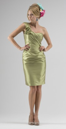 One-shoulder taffeta cocktail dress. Evening Dress