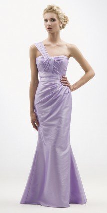 One shoulder fluted taffeta evening dress. Evening Dress