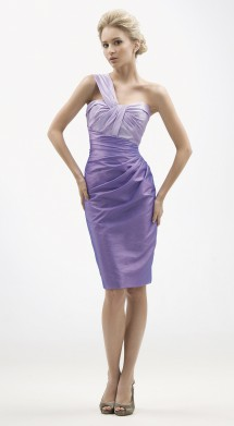 Sassy one shoulder cocktail dress in taffeta. Evening Dress