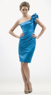 Chic one-shoulder satin cocktail dress. Evening Dress