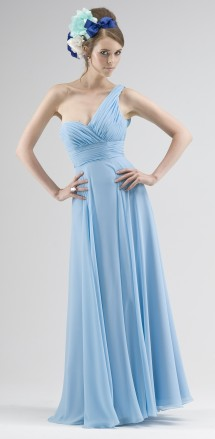One-shoulder chiffon evening, bridesmaid or prom dress. Evening Dress