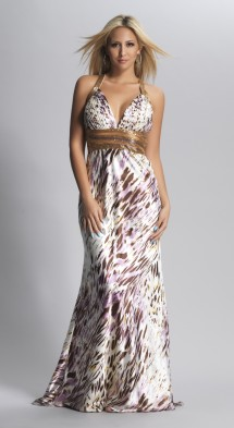 Backless, beaded, print satin prom dress Evening Dress