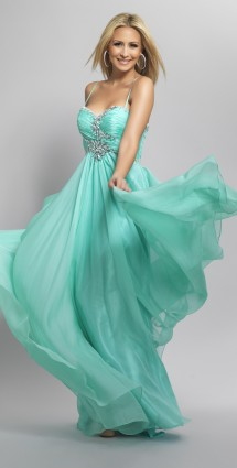 Chiffon, empire line evening gown & diamante detailing Evening Dress