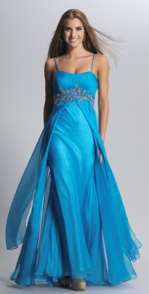 Floaty chiffon evening gown with silver detailed empire line Evening Dress