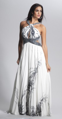 Pleated, backless print evening dress Evening Dress