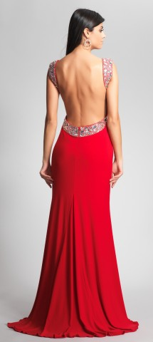 Jersey backless evening dress with beaded straps Evening Dress