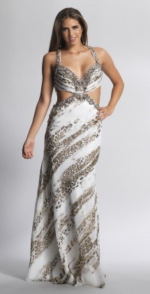 Animal print evening gown with low, strappy back Evening Dress
