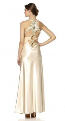Slinky full length evening or prom dress in satin. Evening Dress