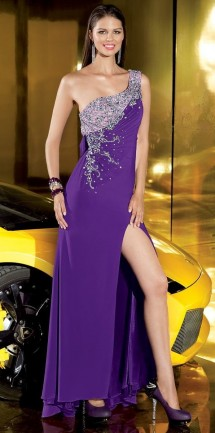 One shoulder, backless evening dress with thigh split Evening Dress