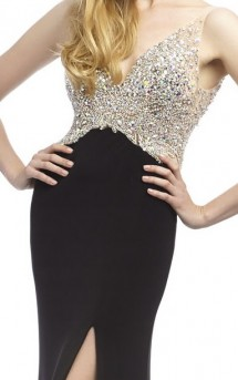 A real red carpet dress - jewelled top with jersey skirt, thigh split & low V back Prom Dress