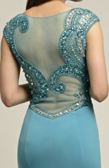 Teal jersey evening gown with mesh & sequin back Evening Dress