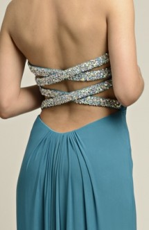 Sequinned back-strap, strapless prom dress Prom Dress
