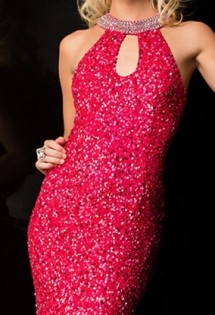 Fully sequinned, high necked, backless evening gown Prom Dress
